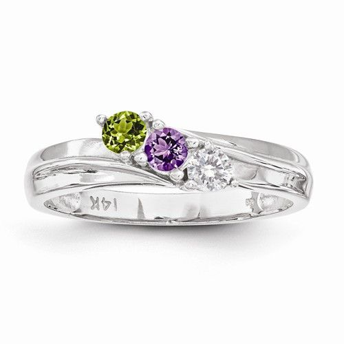 Material: Primary:Gold Material: Primary - Color:White Material: Primary - Purity:14K Width of Item:4 mm Thickness:2 mm Band - Made in the USA Plating:Rhodium Stone Type: Cubic Zirconia (genuine stone