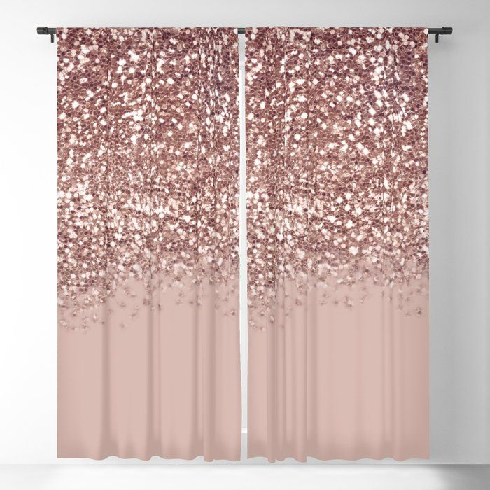Buy Glam Rose Gold Pink Glitter Gradient Sparkles Blackout Curtain By Nlmiller07art Worldwide Shipping Availab Rose Gold Curtains Rose Gold Rooms Glitter Room