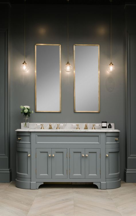 double sink in grey bathroom cabinet with grey walls and gold details - bathroom inspiration