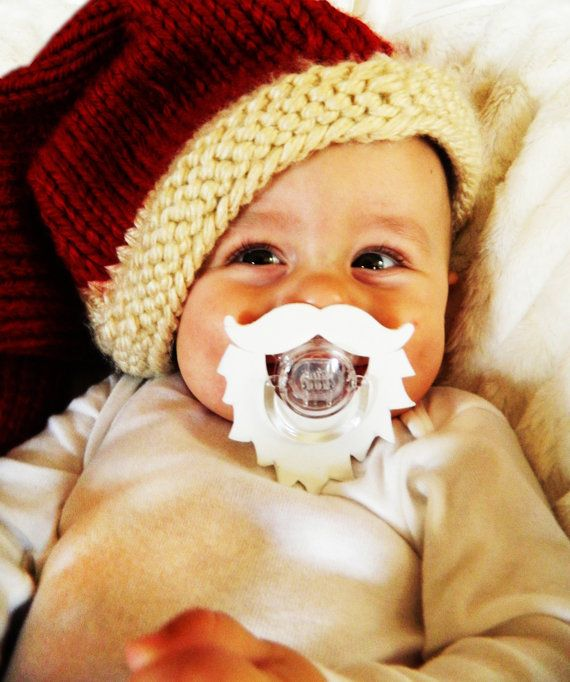 Baby Santa Mustache and Beard Christmas Pacifier, Great Baby Gift or Photo Prop