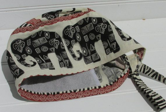 Elephant African print surgical scrub hat chemo by Aknackforfabric