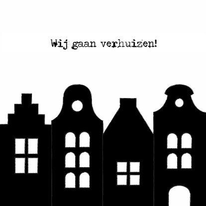 Hippe verhuiskaart met leuke Hollandse grachtenpandjes.