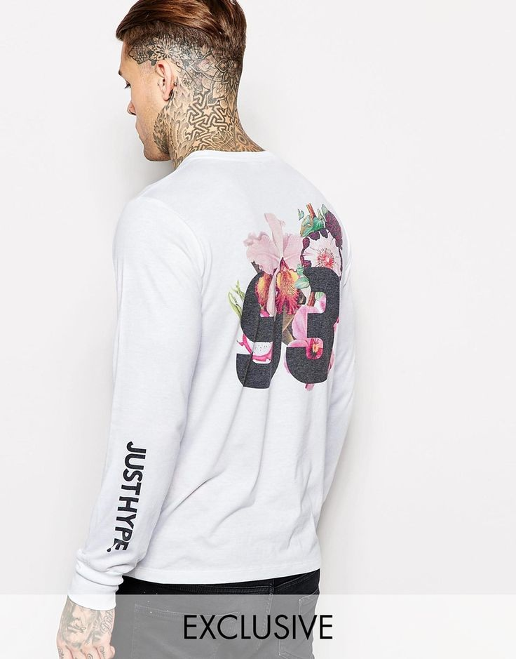 Hype Long Sleeve T-Shirt With Floral Back Print