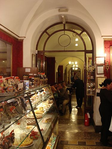 Caffé Greco  Via Condotti   ROMA This is the oldest caffe in Rome At one time all the famous artists and poets hung out here.  It is in front of the Spanish Steps. Here you will find the most prestiges shops in Rome