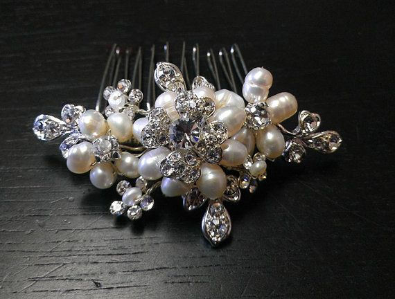 Hair Comb with Rhinestones and Pearls Wedding Hair Accessory Bridal Head Piece Floral Comb:  Allie on Etsy, $58.00