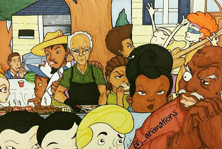 """Commisioned drawing I did. Worked on this on and off I call it """"Cookout Blues"""". She wanted a collaberation between the Class of 3000 and the boodocks, and she didn't mind if i showed it off. So here it is .... #j_animations #theboondocks #boondocks #classof3000 #andre3000 #uncleruckus #hueyfreeman #blackart #fanart #cookout #blues #cartoonnetwork #adultswim"""