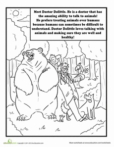 "Color Doctor Dolittle! Worksheet. To go with ""The Story of Dr. Dolittle"" Sonlight Core A"