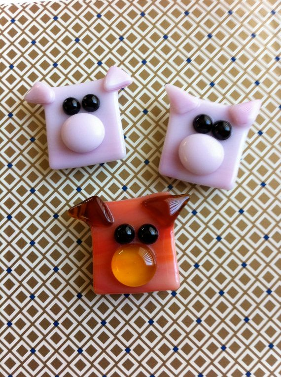 Three Little Pigs Fused Glass Magnet Set by LaRocheStudios on Etsy