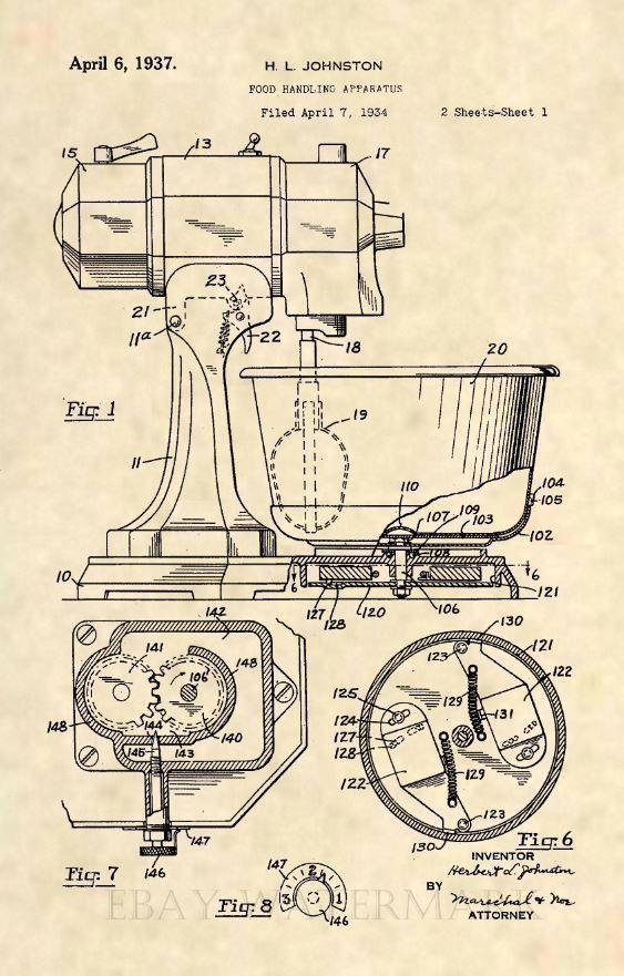Official Mixer US Patent Art Print - Antique Vintage Baker Kitchen Aid - 510 #patentartvintage