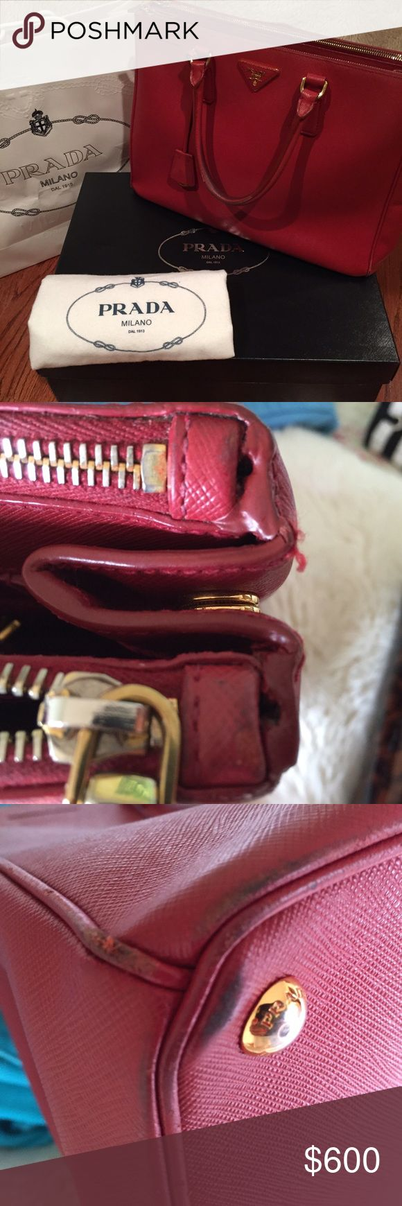 Pre-loved PRADA Saffiano Lux Large This bag comes with authenticity card, original shopping bag and dust cover. Perfect color for autumn and winter. Prada Bags