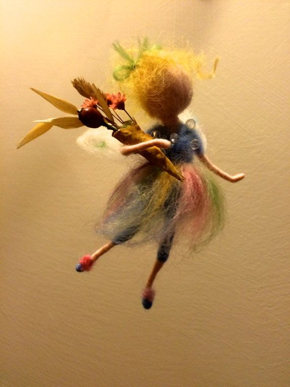 """Needle felted fairy, Waldorf inspired, Wool angel """"Morning"""" with flowers, Mobile, Art doll, Home decor, Nursery, Collectible doll, Gift"""