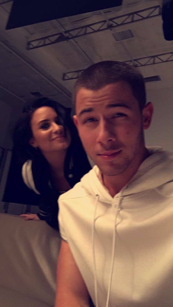 Demi and Nick on Nick's snapchat Friday 26th February 2016