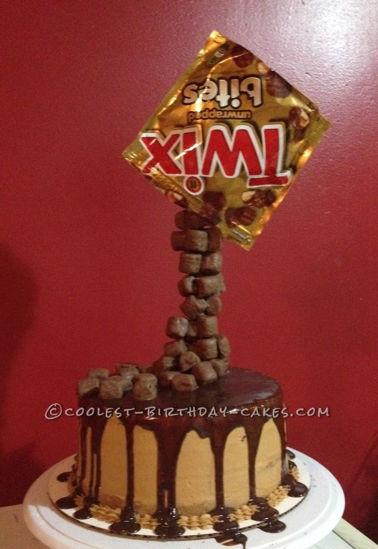 Coolest Homemade Twix Anti-Gravity Cake... This website is the Pinterest of birthday cake ideas