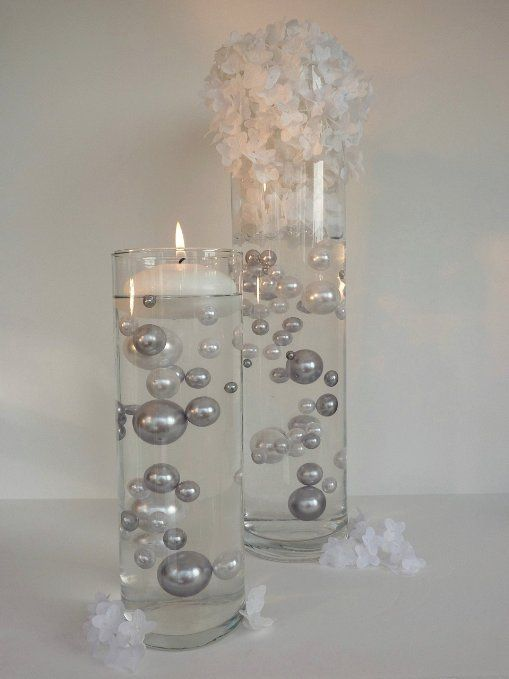 80 Silver and White Pearls Jumbo and Assorted Sizes - Vase Fillers Value Pack...Not Including the Transparent Water Gels (Sold Separately) to Float The Pearls...