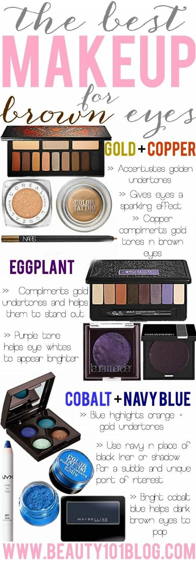 Everything you need to know about the best makeup for brown eyes and which colors look the best. makeup beauty eyeshadow