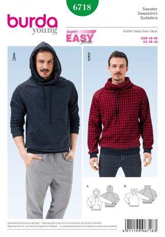 Burda Mens Easy Sewing Pattern 6718 Hoodie & Sweater Top   Sewing   Patterns   Minerva Crafts