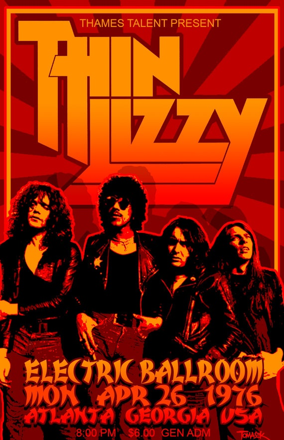 Thin Lizzy 1976 Tour Poster. $25,00, via Etsy. Yes the boys are back in town. They were at least, in '76.