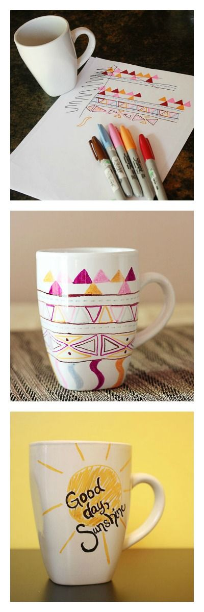 DIY sharpie mugs! Use any colors you want and just bake at 350 degrees for 30 minutes! via Craftpond.com. What a cool Winter Holiday gift idea!
