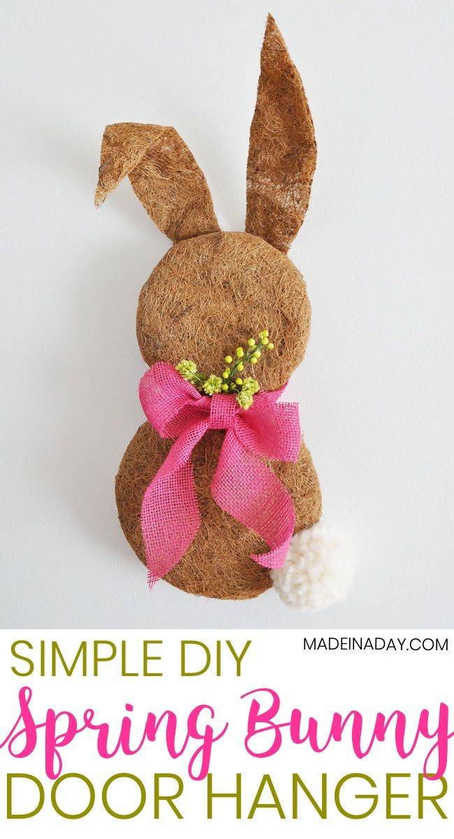 Dollar Store Easter Bunny Wreath made with Plant Coco Liner, Clover Jumbo Pom maker, Pink burlap ribbon, easy craft, door hanger, spring wreath, Spring Door hanger, Easter home decor #easter #bunny #spring #Springwreath Simple Spring Bunny Door Hanger