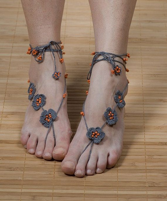 GRAY Crochet Barefoot Sandals with beads by GMNAccessories on Etsy, $15.50