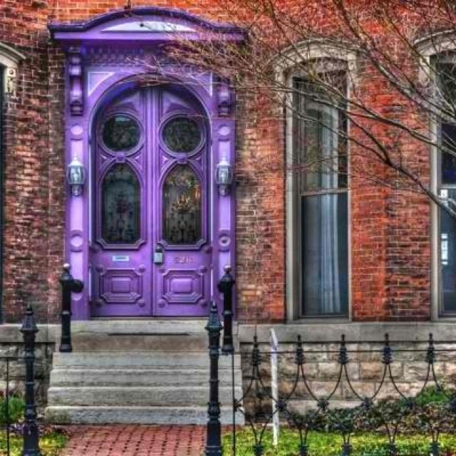 New Front Door Color Brick House With Bright Purple Door