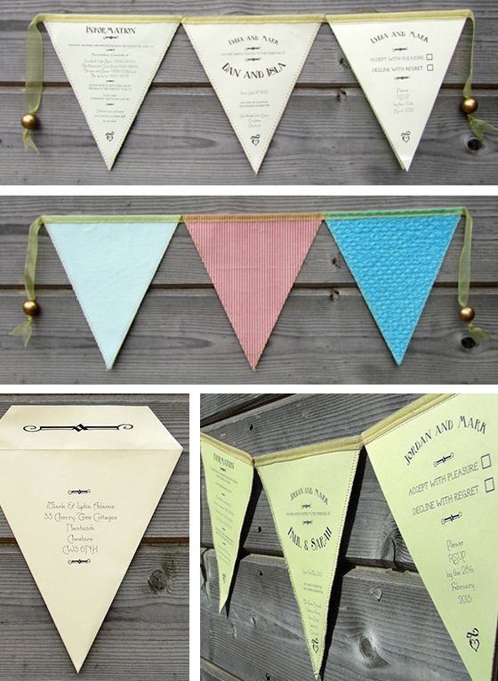 We just LOVE this 'Bunting Best' design from Postman's Knock – this invitation set is printed directly onto fabric-backed paper bunting flags. postmansknock.co.uk