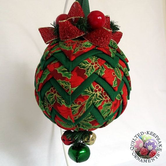 Christmas ornament using the quilted technique.  Holly fabric in reds and greens  by QuiltedKpskOrnaments on Etsy, $28.00