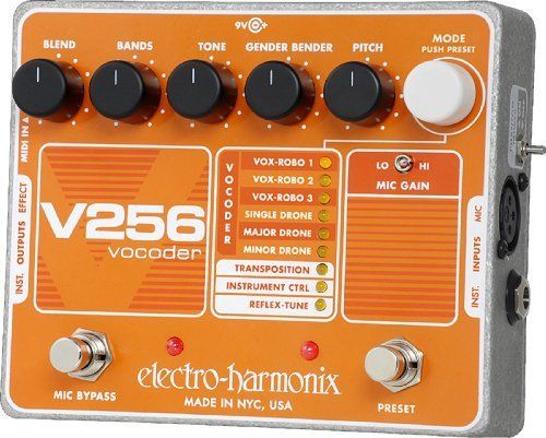 Electro-Harmonix V256 Vocoder with Reflex-Tune by Electro-Harmonix. $220.50. So you wanna go Dr. Roboto on us? Take over the world with a crazy drone tone or alien-like work of art? Or maybe you just want to pull off some seriously gender-bending antics to give your performances a fun, creative edge. Whatever your end goal, the Electro-Harmonix V256 Vocoder is the pedal to get you there. It can do pitch correction, it can go electronic, it can do all sorts of wha...