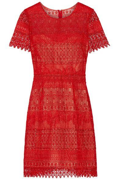 Marchesa Notte - Guipure Lace Mini Dress - Red - US12