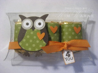 Clear Window Sheet dressed up with a punched owl and matching Hershey Nuggets! What a cute favor!