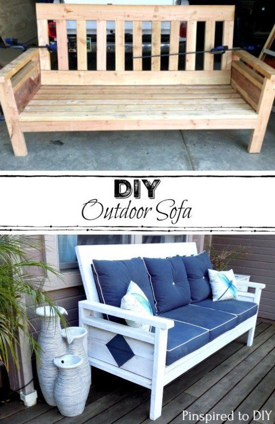 Free Woodworking Plans To Build A Diy Outdoor Sofa Or Couch Add Some Comfy Decor Your Porch Deck With This
