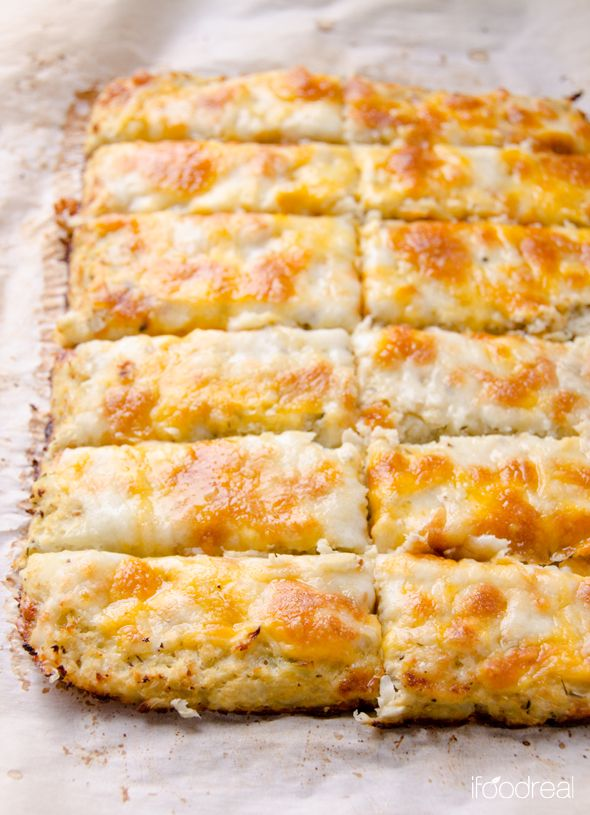 cutrow-cauliflower-breadsticks-recipe - Use FG approved cheese and make cream cheese garlic dip for dipping - YUM!