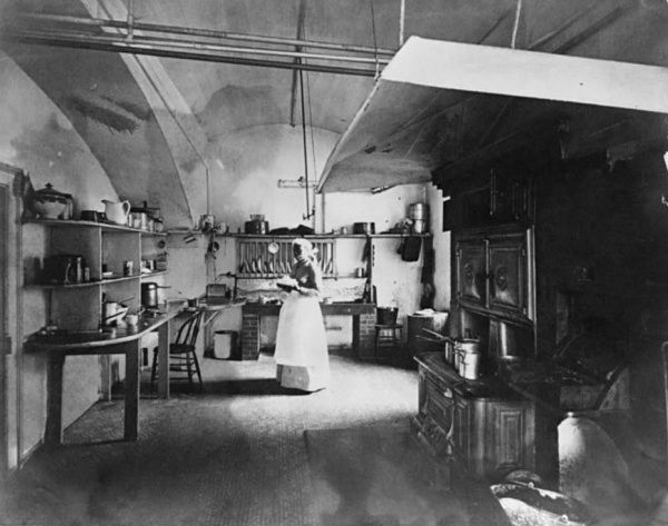 """Dolly Johnson in the old White House Scullery, or """"small kitchen,"""" circa 1892, looking south (Library of Congress - Frances Benjamin Johnston)"""