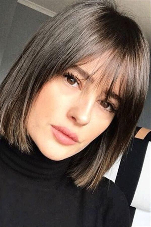 Medium Natural Straight Human Hair With Bang Women Wig 14 Inches