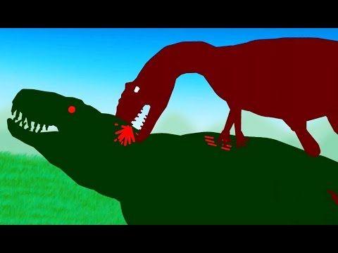 Dinosaurios dibujos animados. Tyrannosaurio Rex vs Allosaurio Caricatura...