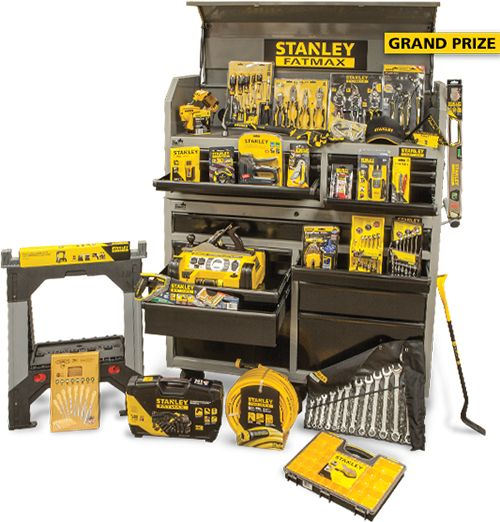 "Stanley Tools - Fill Your Toolbox Sweepstakes  Sweepstakes Prize  Enter to Win  Grand Prize: $2510 worth of Stanley Tools. Includes 52"" Rolling tool chest Mechanics Tool Set and much more. (see rules for complete list)First Prize: $1000 worth of Stanley Tools.Second Prize: $502 worth of Stanley Tools.  ARV: $2510.00 Winners: 3Open to: U.S.A 18 Expires: Monday May. 01 2017 Entry: 1x total Type: text form"