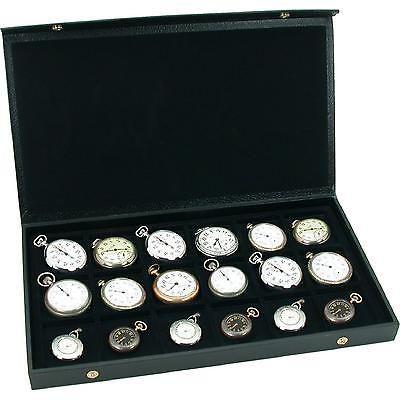 Pocket Watch Display Case Holds 18 Watches Storage Show Box Jewelry Organizers