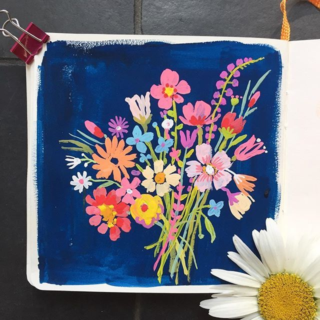 Sketchbook of carolyn gavin. Close up of floral on blue. #gouachepainting…