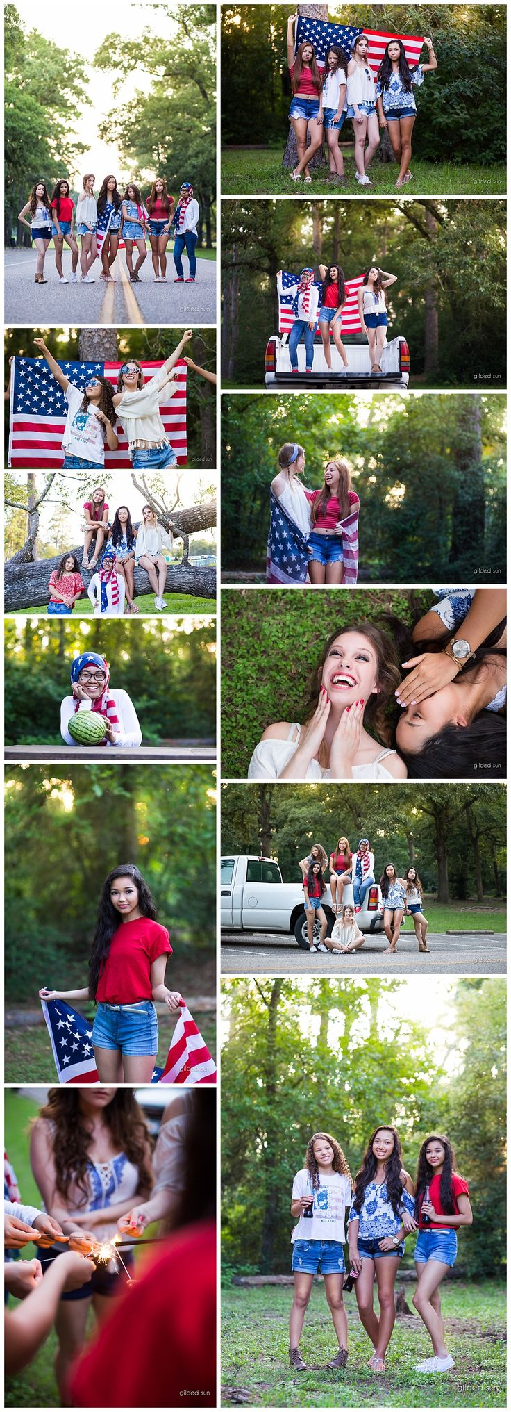 "Fun ""American Summer"" themed group shoot by Houston senior photographer, Gilded Sun Photography, Spring Creek Park in Tomball, Texas, red white and blue, flag, fourth of July photoshoot, BFF best friend shoot www.gildedsun.com"