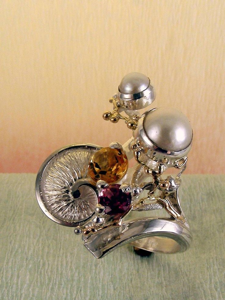 gregory pyra piro #smykkekunst #ring sterling #sølv og #gull med #edelsten