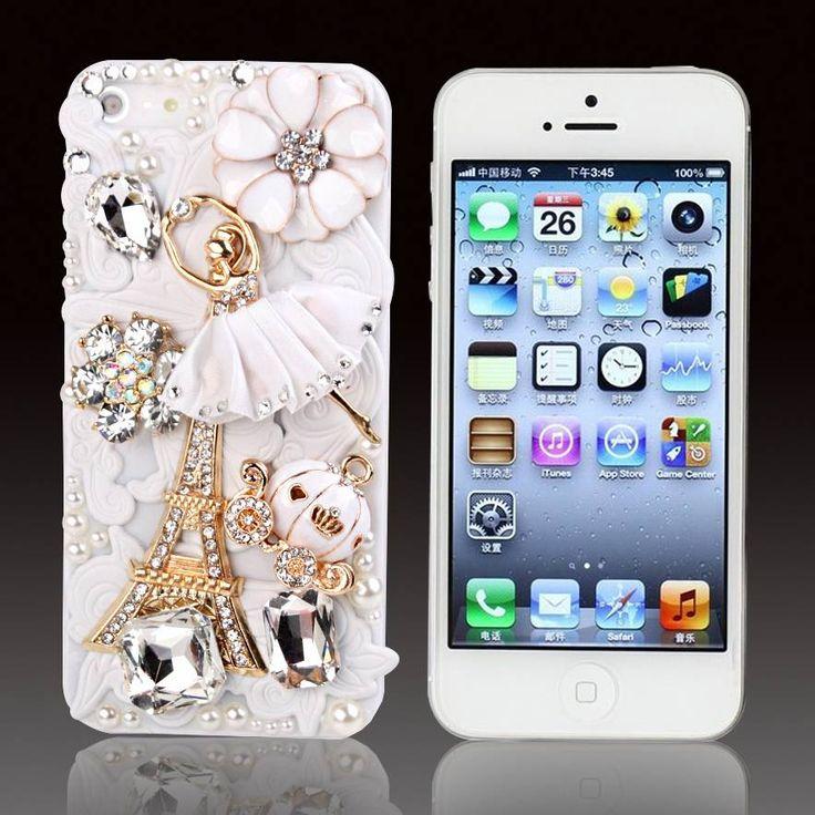 Een ode aan Parijs is deze phone case met strass steentjes bekleed wit bling hoesje voor je Apple Iphone 5/5S, 4/4S, S3, S3 mini, S4, S4 mini, HTC one, HTC one mini, Sony Experia Z
