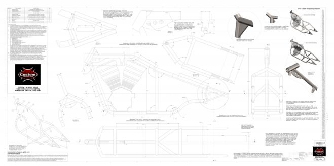 Image of the actual plans of our 240 rigid chopper frame.