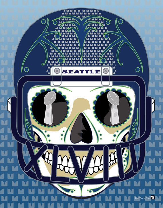 Seattle Seahawks Super Bowl Sugar Skull Print 11x14 print