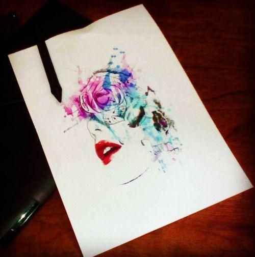 Engraved circus tattoo parlour I love my wacom tablet.. Custom design for C.#watercolor #watercolortattoo #woman #rose #music #rosetattoo #musictattoo #skull #skulltattoo #skullart #engraved #engravedcircus #tattoo #tattooart #wacom #intuos4 #paintingoftheday #drawingoftheday #tattoodesign