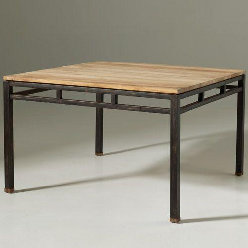 Table à manger carrée en Teck et métal Luna
