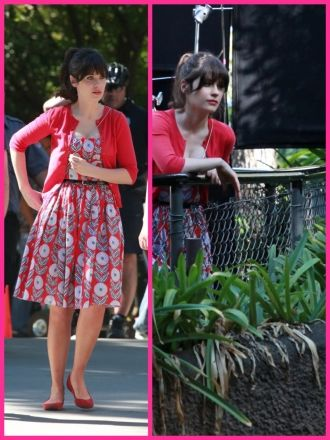 Love her coordinating print dresses and cardigans. Very 50's, very cute