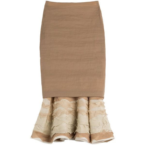 Donna Karan New York Pencil Skirt with Ruffled Hem featuring polyvore, fashion, clothing, skirts, camel, flounce skirt, knee length pencil skirt, beige skirt, ruffle hem skirt and beige pencil skirt