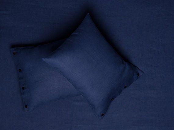Custom sheet set Queen. New design by Lovely Home Idea. Indigo blue natural softened linen.