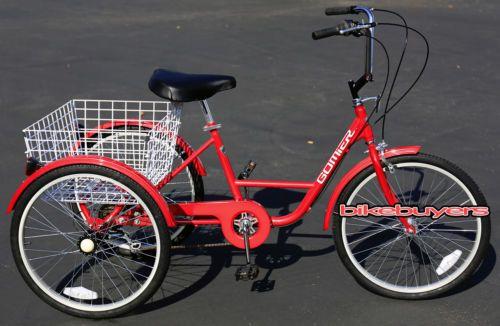 Gomier-Shimano-6-speed-Adult-Tricycle-Bike-Bicycle-3-wheel-wheeler-24-RED