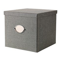 """KVARNVIK Box with lid - gray, 12 ½x13 ¾x11 ¾ """" - IKEA--- Perfect for his things to be stacked in the closet!"""